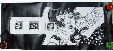 少女椿てぬぐい紙型